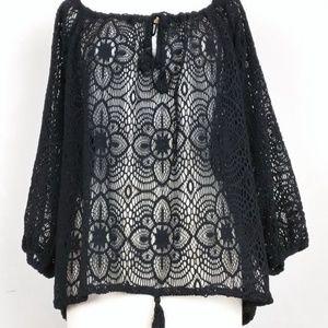 Ralph Lauren Denim Supply Top Black Crochet Boho